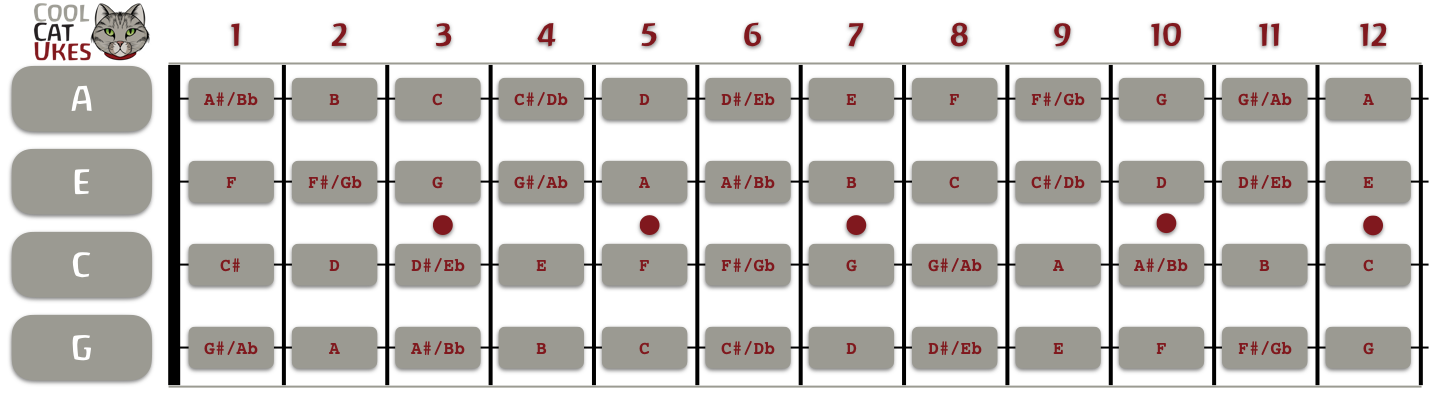 ukulele fretboard diagram gcea rh coolcatukes com ukulele blank fretboard diagram pdf uke fretboard diagram